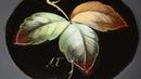 Мастер класс в Жостово, Роспись листьев масляными красками