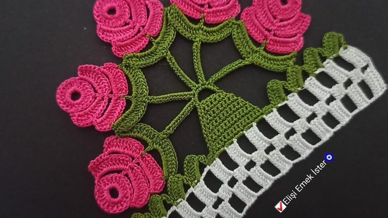 Yine Bir Takipçim istedi ben de yaptım!! Çeyizlik Tığ işi Havlu Kenarı Güllü Bahar Çiçeği Modeli