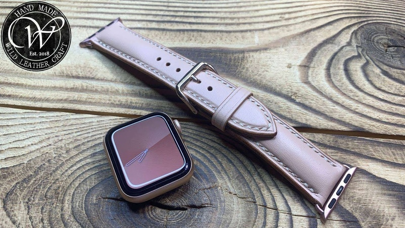 Vegetable tanned leather strap for Apple Watch Series 6 Apricot Craiola from wildleathercraft