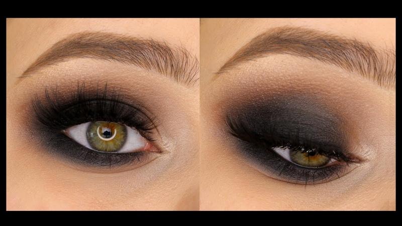 Классический чёрный смоки айс smokey eyes в круглой форме