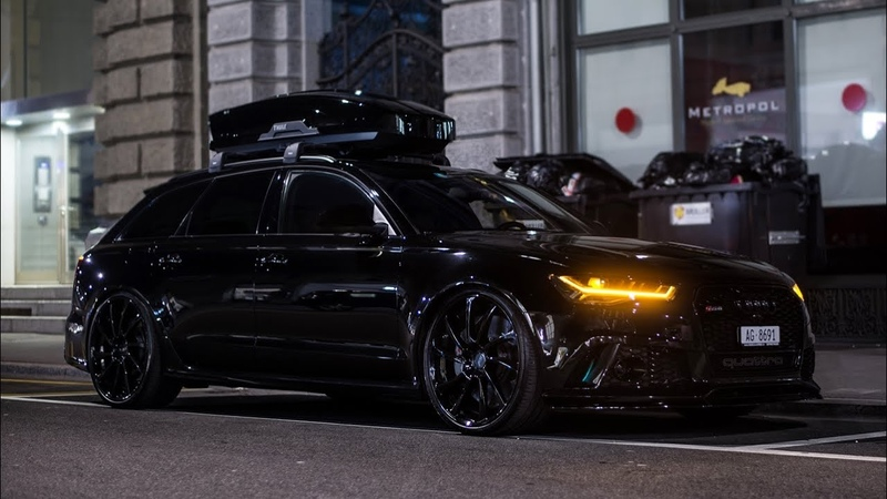 Murdered Out RS6 C7 with Roofbox and BRUTAL Exhaust Sound! Start up, REVS, Crackles!