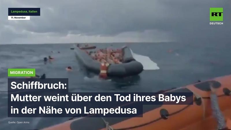 Schiffbruch Mutter weint über den Tod ihres Babys in der Nähe von Lampedusa
