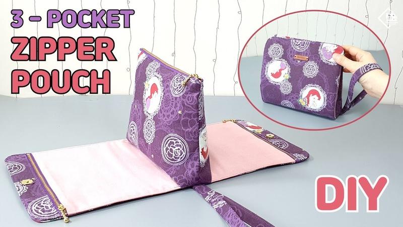 DIY MULTI ZIPPER POUCH 3-pocket makeup pouch sewing tutorial [Tendersmile Handmade]