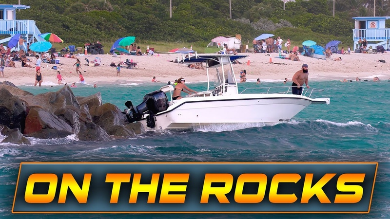 BOAT CRASHES INTO THE ROCKS AT HAULOVER INLET!! | Boats vs Haulover Inlet