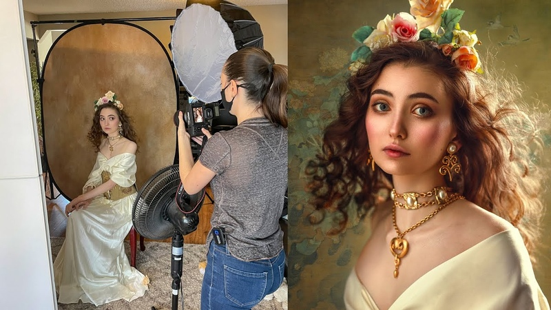 Creative Portraits using 1 Flash in Small Home Studio, Behind The Scenes