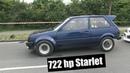 722 Hp Starlet testing at Racedays.dk In odense