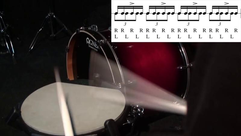 Уроки игры на барабанах - Пример простой полиритмии