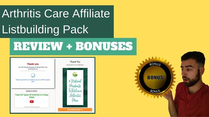 Arthritis Care Affiliate List Building Pack Review Bonuses ⚠️DFY ARTHRITIS AFFILIATE FUNNEL⚠️