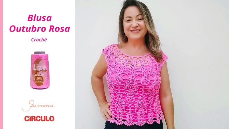 Blusa de Crochê Outubro Rosa Super Fácil e Econômica Prof Simone Eleotério